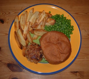 Burger and chips - our last home-reared pork meal